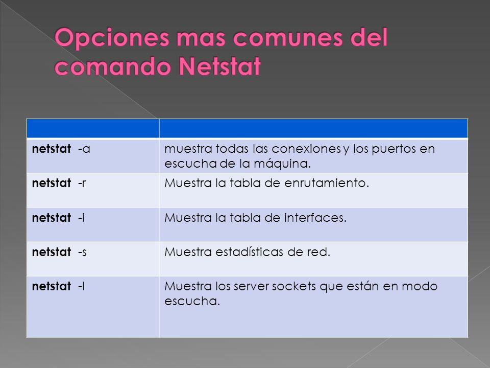 netstat -a muestra todas las conexiones y los puertos en escucha de la máquina.