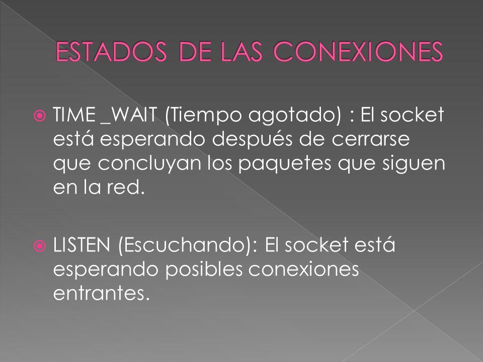 TIME _WAIT (Tiempo agotado) : El socket está esperando después de cerrarse que concluyan los paquetes que siguen en la red.