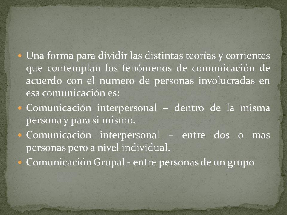 Una forma para dividir las distintas teorías y corrientes que contemplan los fenómenos de comunicación de acuerdo con el numero de personas involucrad