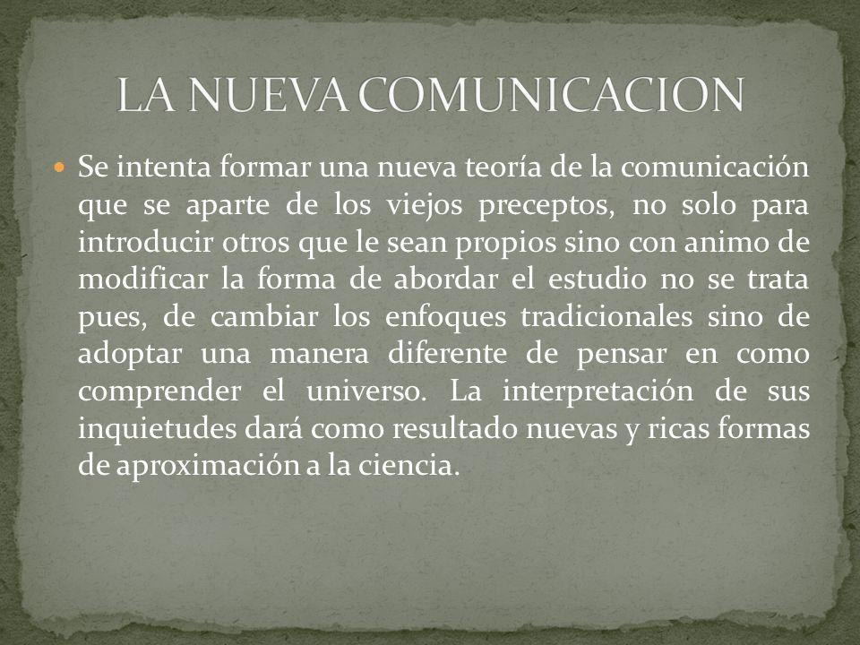 Se intenta formar una nueva teoría de la comunicación que se aparte de los viejos preceptos, no solo para introducir otros que le sean propios sino co