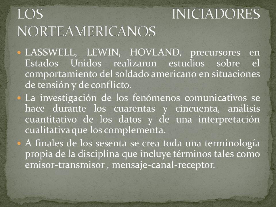 LASSWELL, LEWIN, HOVLAND, precursores en Estados Unidos realizaron estudios sobre el comportamiento del soldado americano en situaciones de tensión y