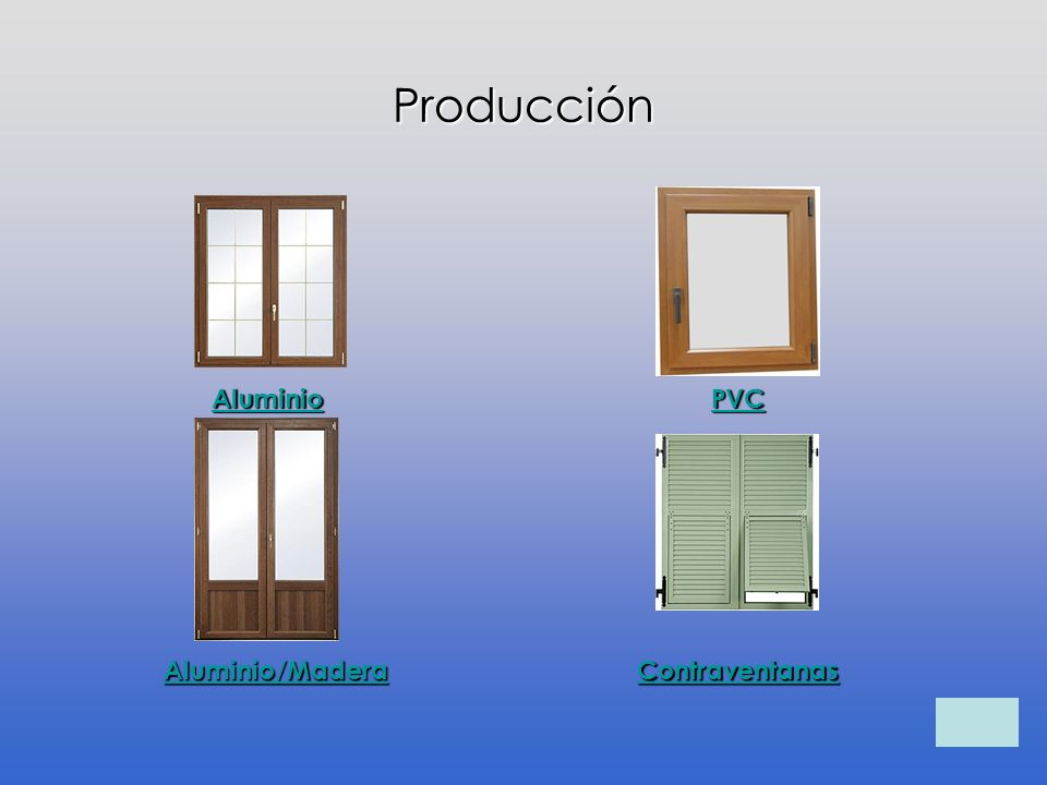 Producción Aluminio Aluminio/Madera PVC Contraventanas
