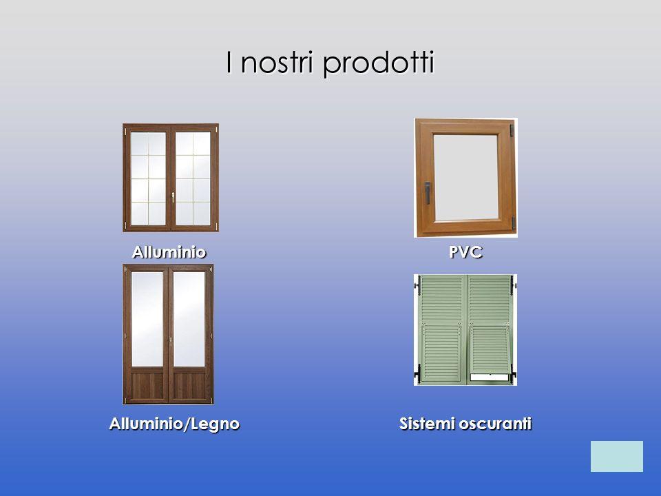 I nostri prodotti Alluminio Alluminio/Legno PVC Sistemi oscuranti Sistemi oscuranti