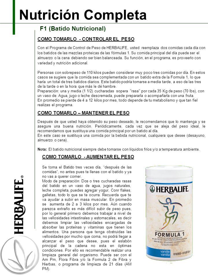 Nutrición Completa F1 (Batido Nutricional) Con el Programa de Control de Peso de HERBALIFE, usted reemplaza dos comidas cada día con los batidos de las mezclas proteicas de las fórmulas 1.
