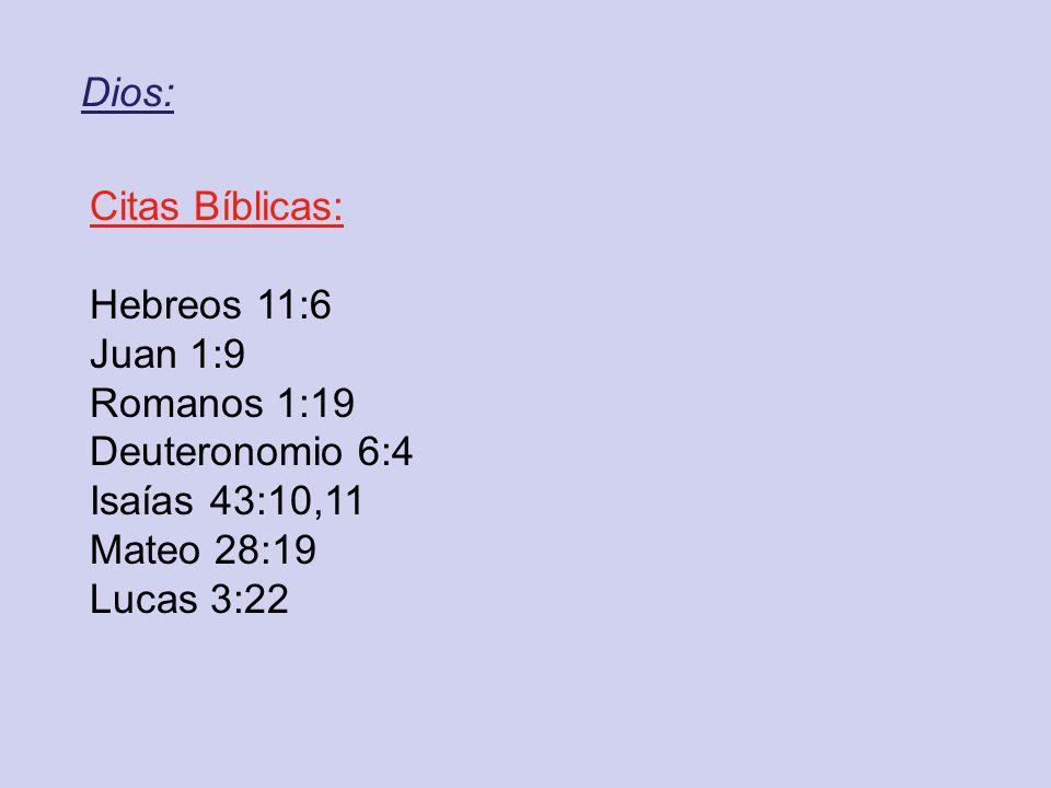 Dios: Citas Bíblicas: Hebreos 11:6 Juan 1:9 Romanos 1:19 Deuteronomio 6:4 Isaías 43:10,11 Mateo 28:19 Lucas 3:22