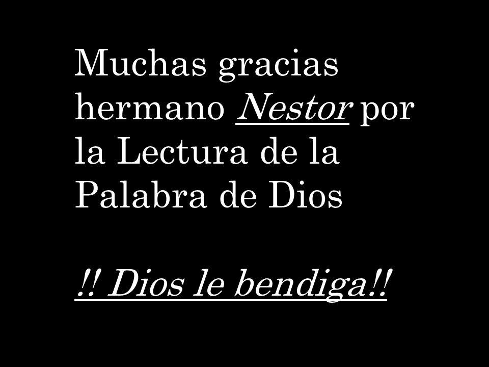 Muchas gracias hermano Nestor por la Lectura de la Palabra de Dios !! Dios le bendiga!!