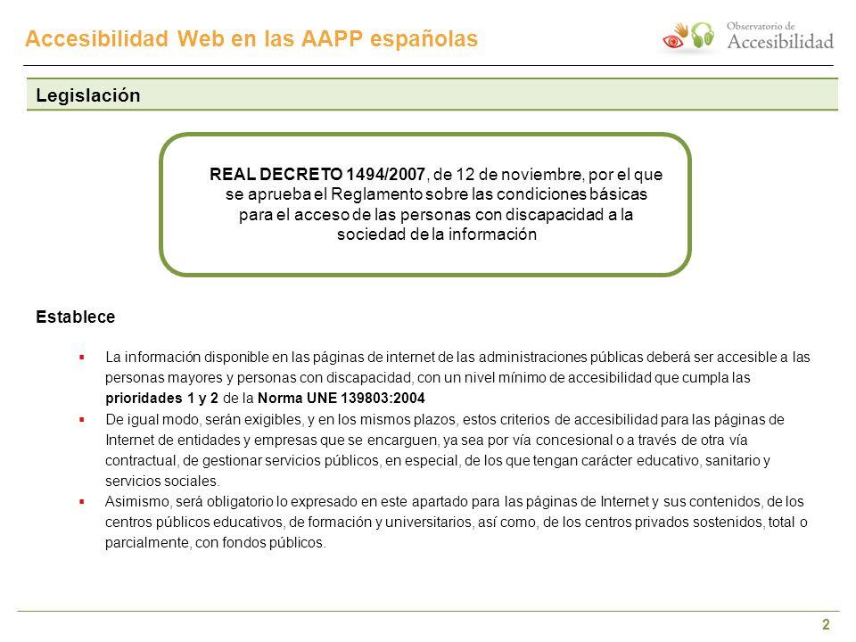 2 Accesibilidad Web en las AAPP españolas Legislación Establece La información disponible en las páginas de internet de las administraciones públicas