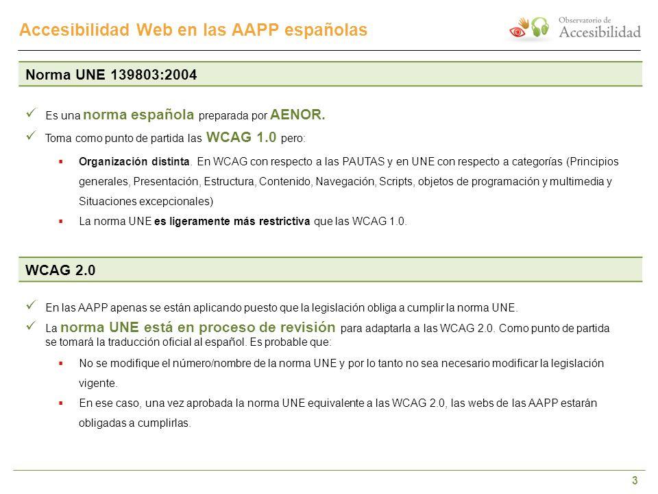 3 Accesibilidad Web en las AAPP españolas WCAG 2.0 En las AAPP apenas se están aplicando puesto que la legislación obliga a cumplir la norma UNE. La n