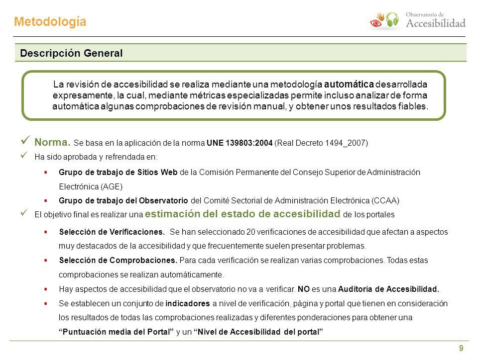 9 Metodología Descripción General Norma. Se basa en la aplicación de la norma UNE 139803:2004 (Real Decreto 1494_2007) Ha sido aprobada y refrendada e