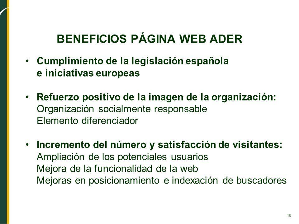 10 BENEFICIOS PÁGINA WEB ADER Cumplimiento de la legislación española e iniciativas europeas Refuerzo positivo de la imagen de la organización: Organi