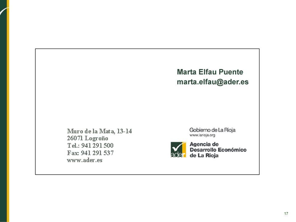 17 Muro de la Mata, 13-14 26071 Logroño Tel.: 941 291 500 Fax: 941 291 537 www.ader.es