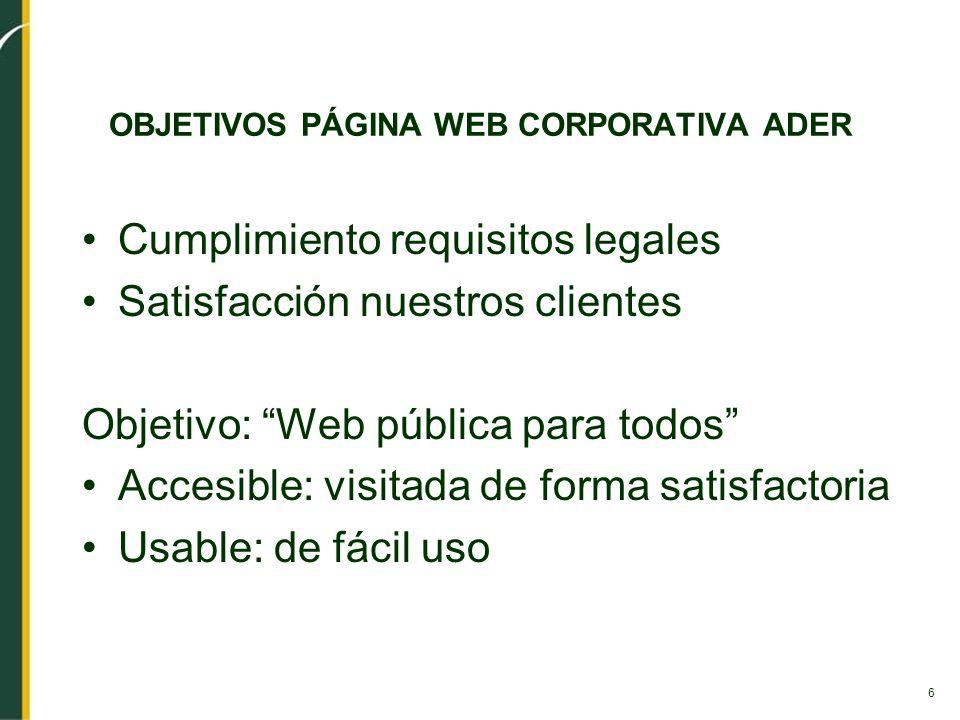 6 OBJETIVOS PÁGINA WEB CORPORATIVA ADER Cumplimiento requisitos legales Satisfacción nuestros clientes Objetivo: Web pública para todos Accesible: vis