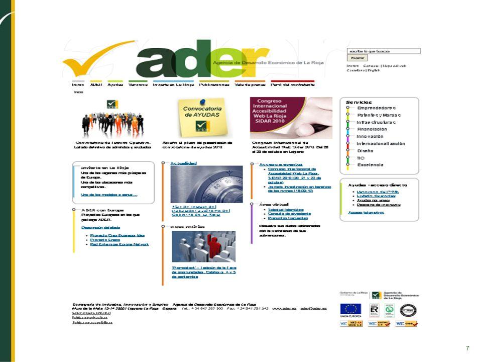 8 CARACTERÍSTICAS PÁGINA WEB ADER Accesible AA Usable Potencia imagen de marca Autogestionable