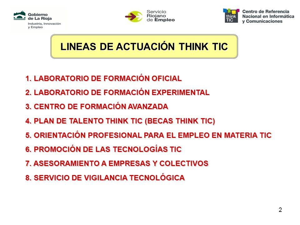 2 LINEAS DE ACTUACIÓN THINK TIC 1. LABORATORIO DE FORMACIÓN OFICIAL 2.