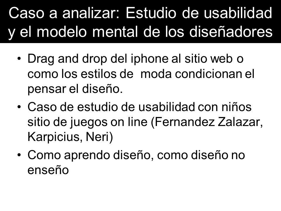 Caso a analizar: Estudio de usabilidad y el modelo mental de los diseñadores Drag and drop del iphone al sitio web o como los estilos de moda condicio