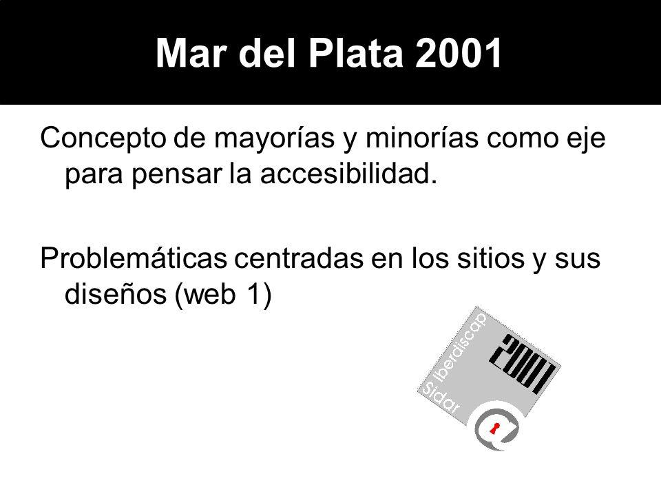 Mar del Plata 2001 Concepto de mayorías y minorías como eje para pensar la accesibilidad. Problemáticas centradas en los sitios y sus diseños (web 1)