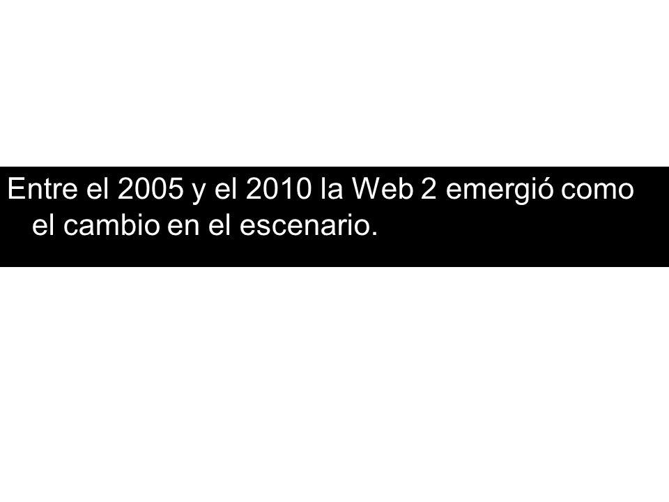 Triada tradicional de la web 1 Navegación contenidos metáfora Usuarios (interacciones por fuera de los sitios) chat y mail Sitio web Hipertexuad o en la forma pero aislado en la lógica Lectores