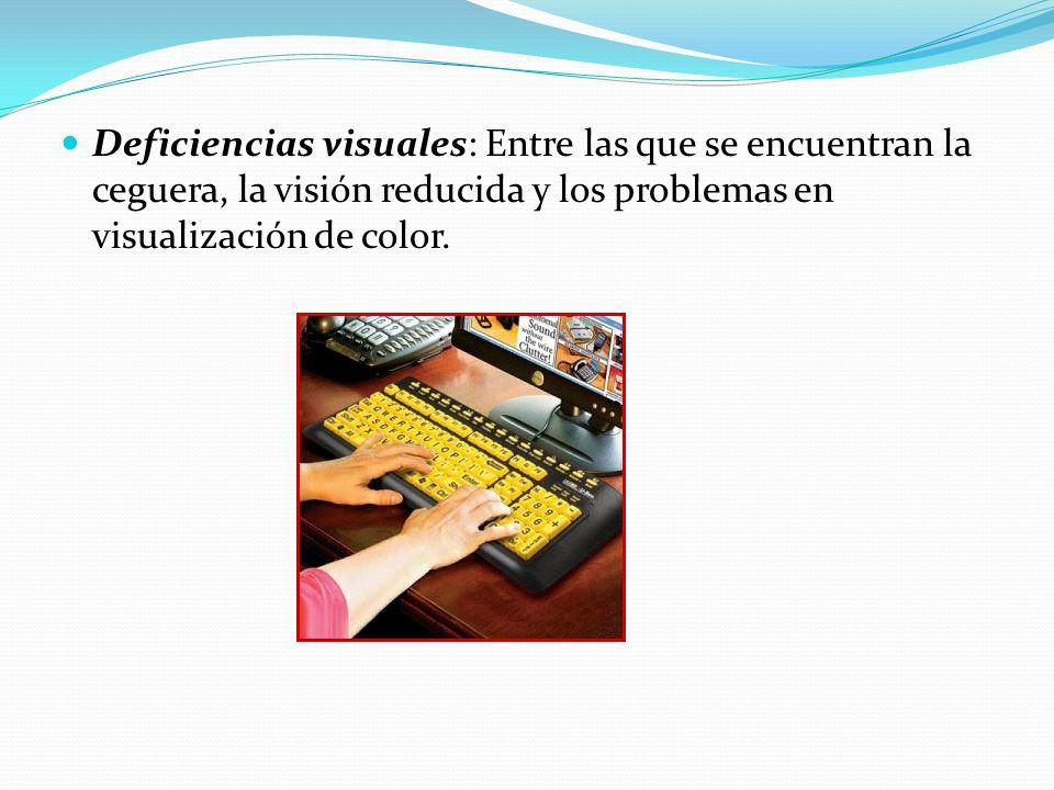 Deficiencias visuales: Entre las que se encuentran la ceguera, la visión reducida y los problemas en visualización de color.