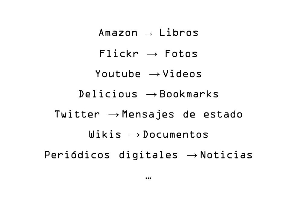 Amazon Libros Flickr Fotos Youtube Videos Delicious Bookmarks Twitter Mensajes de estado Wikis Documentos Periódicos digitales Noticias …