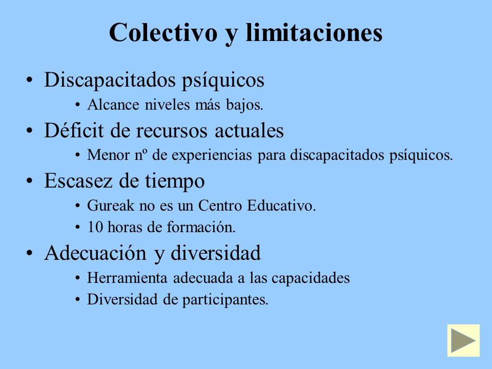 Colectivo y limitaciones Discapacitados psíquicos Alcance niveles más bajos.