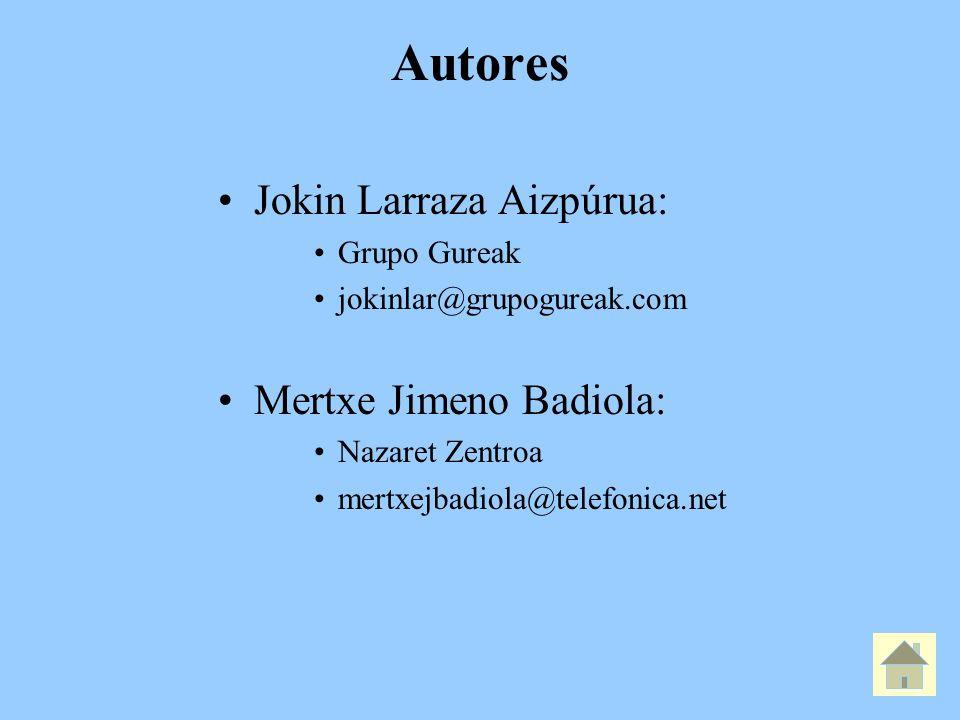 Autores Jokin Larraza Aizpúrua: Grupo Gureak jokinlar@grupogureak.com Mertxe Jimeno Badiola: Nazaret Zentroa mertxejbadiola@telefonica.net