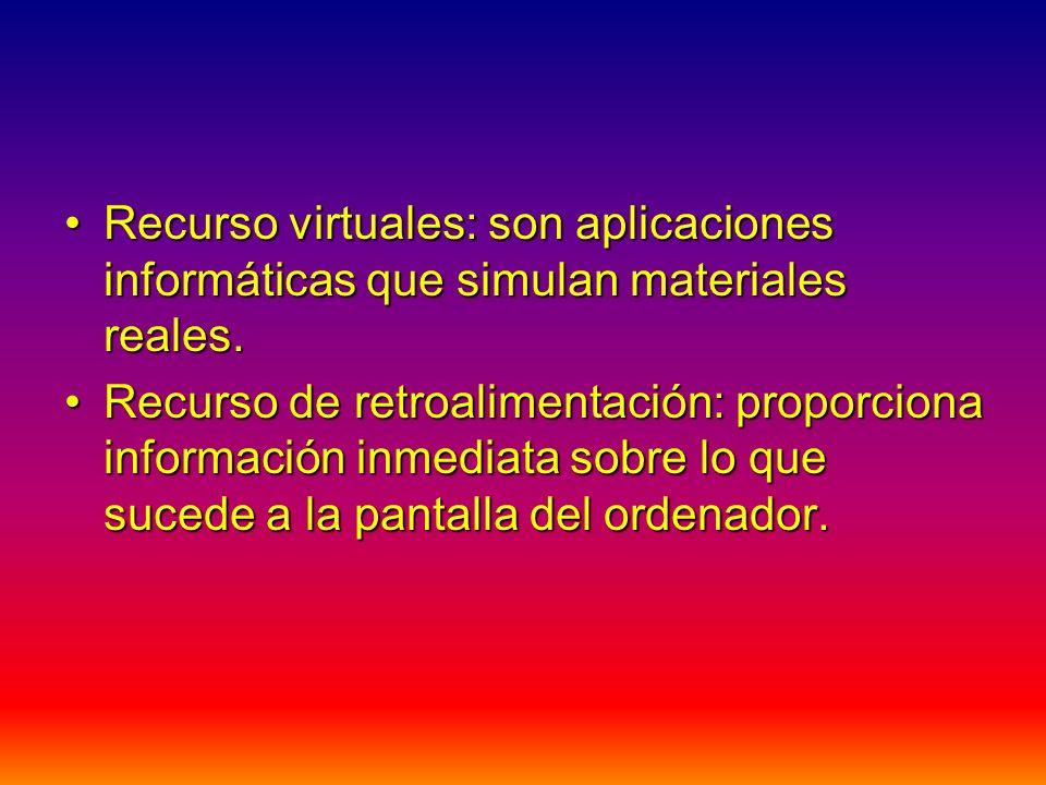 Recurso virtuales: son aplicaciones informáticas que simulan materiales reales.Recurso virtuales: son aplicaciones informáticas que simulan materiales