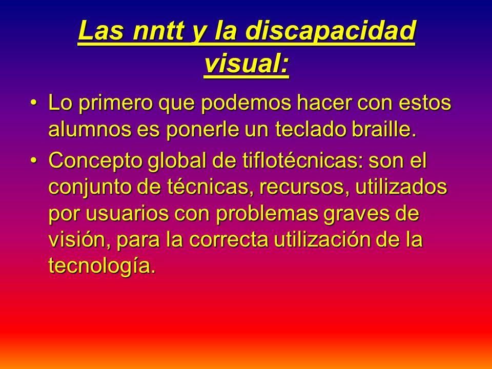 Las nntt y la discapacidad visual: Lo primero que podemos hacer con estos alumnos es ponerle un teclado braille.Lo primero que podemos hacer con estos