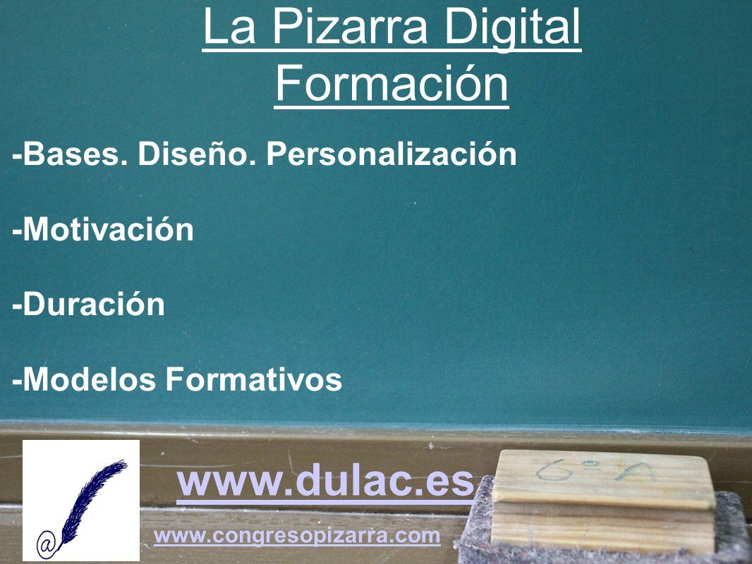 www.dulac.es www.congresopizarra.com -Bases. Diseño. Personalización -Motivación -Duración -Modelos Formativos La Pizarra Digital Formación