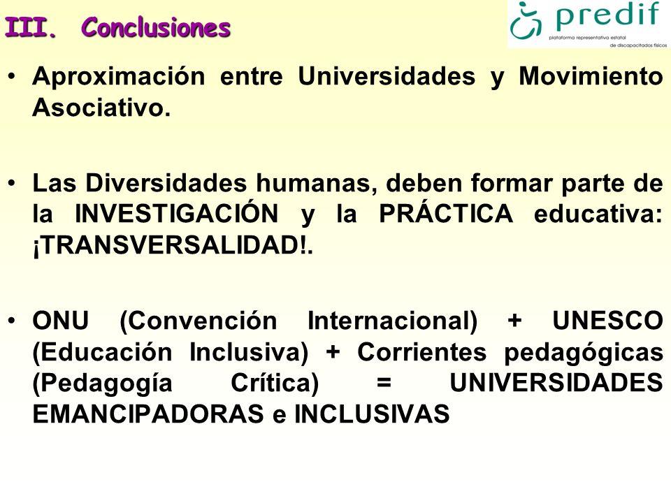 III. Conclusiones Aproximación entre Universidades y Movimiento Asociativo. Las Diversidades humanas, deben formar parte de la INVESTIGACIÓN y la PRÁC