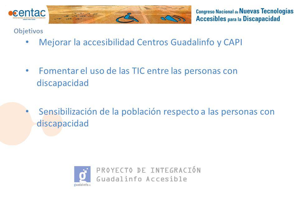 PROYECTO DE INTEGRACIÓN Guadalinfo Accesible Objetivos Mejorar la accesibilidad Centros Guadalinfo y CAPI Fomentar el uso de las TIC entre las personas con discapacidad Sensibilización de la población respecto a las personas con discapacidad
