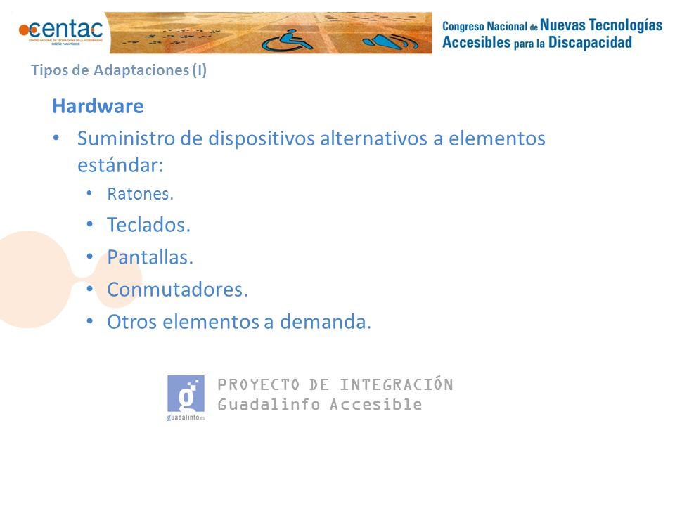 PROYECTO DE INTEGRACIÓN Guadalinfo Accesible Tipos de Adaptaciones (I) Hardware Suministro de dispositivos alternativos a elementos estándar: Ratones.