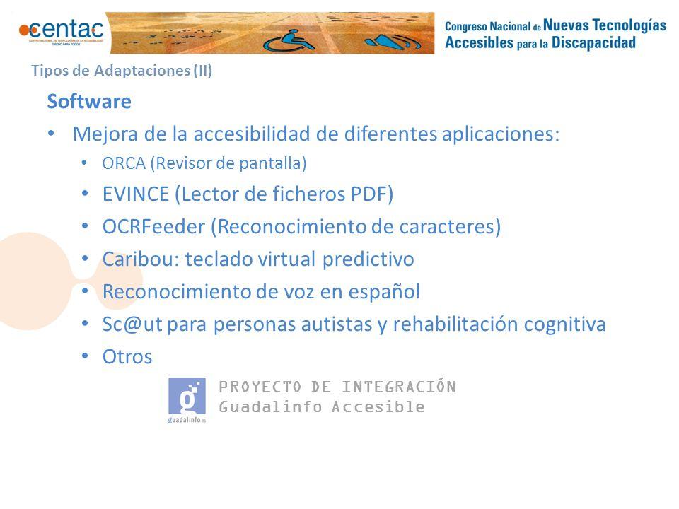 PROYECTO DE INTEGRACIÓN Guadalinfo Accesible Hardware (I) Colaboración con RED.es para la adquisición de los siguientes elementos: Kit básico, distribuido a todos los Centros.