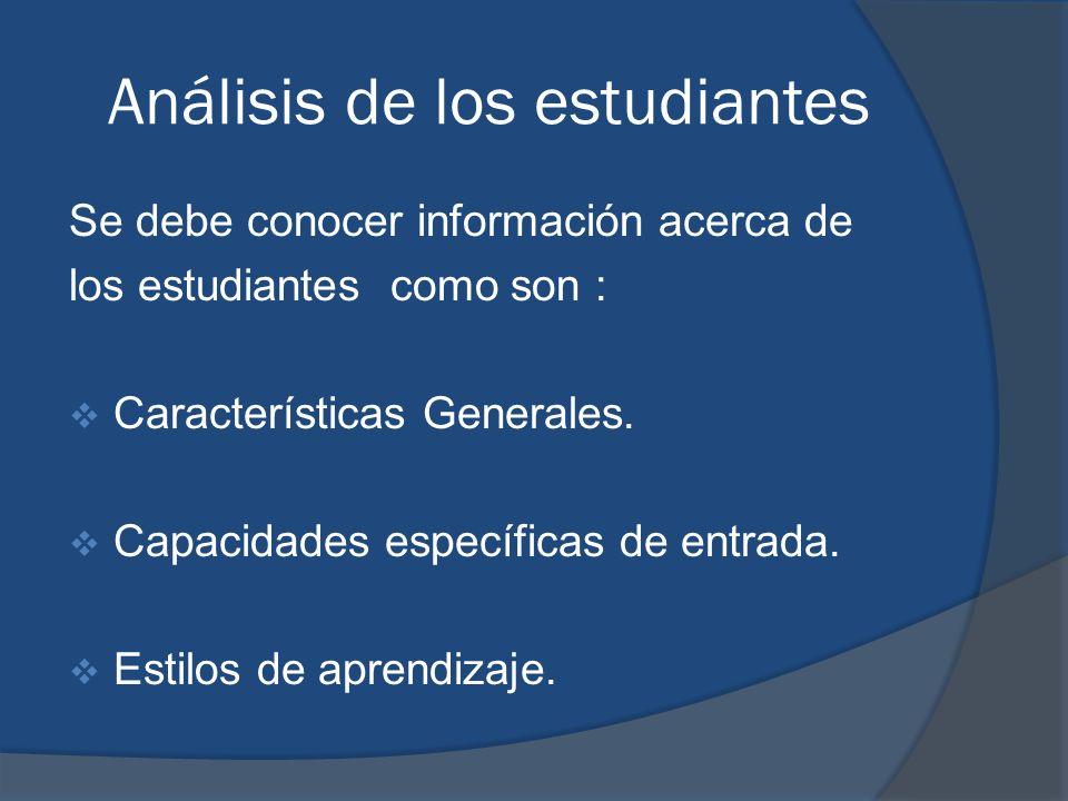 Análisis de los estudiantes Se debe conocer información acerca de los estudiantes como son : Características Generales. Capacidades específicas de ent