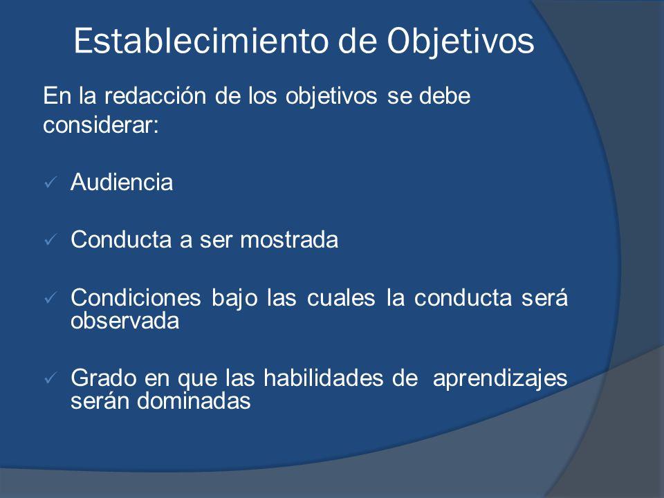 Establecimiento de Objetivos En la redacción de los objetivos se debe considerar: Audiencia Conducta a ser mostrada Condiciones bajo las cuales la con