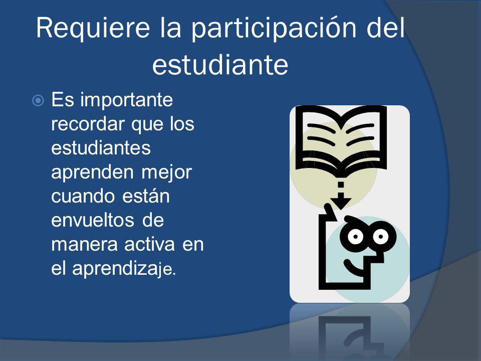Requiere la participación del estudiante Es importante recordar que los estudiantes aprenden mejor cuando están envueltos de manera activa en el apren
