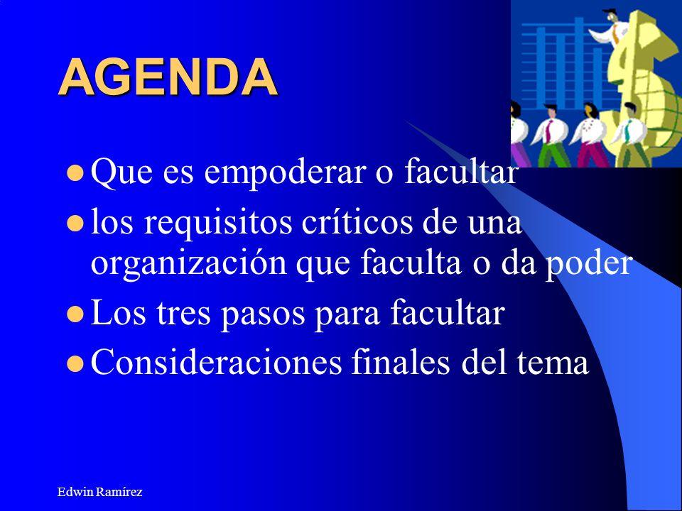 Edwin Ramírez AGENDA Que es empoderar o facultar los requisitos críticos de una organización que faculta o da poder Los tres pasos para facultar Consi