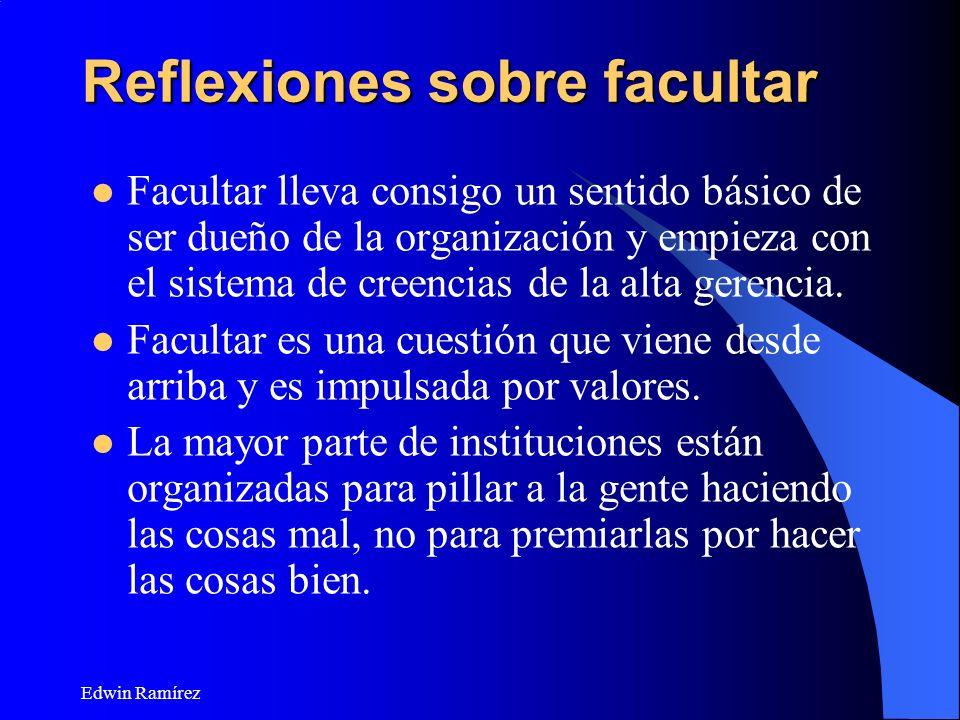 Edwin Ramírez Reflexiones sobre facultar Facultar lleva consigo un sentido básico de ser dueño de la organización y empieza con el sistema de creencia