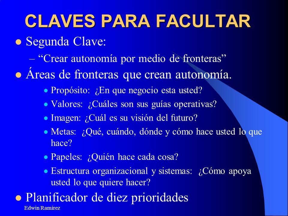 Edwin Ramírez CLAVES PARA FACULTAR Segunda Clave: –Crear autonomía por medio de fronteras Áreas de fronteras que crean autonomía. Propósito: ¿En que n