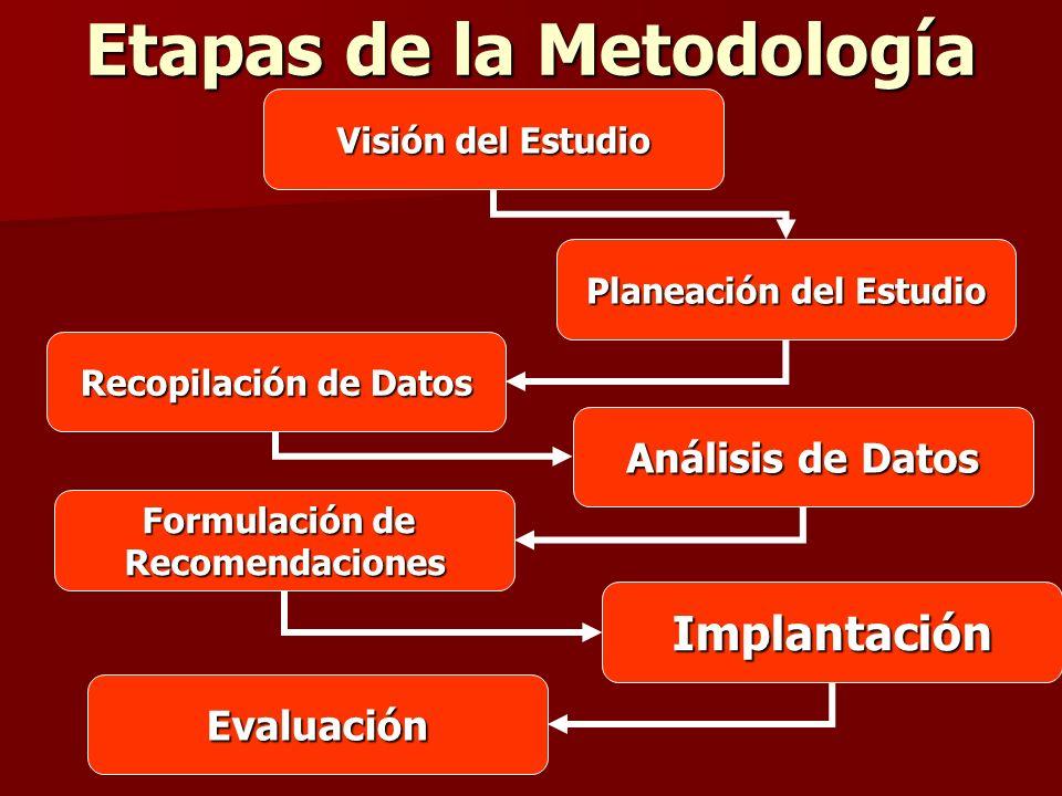 Etapas de la Metodología Visión del Estudio Planeación del Estudio Recopilación de Datos Análisis de Datos Formulación de Recomendaciones Implantación