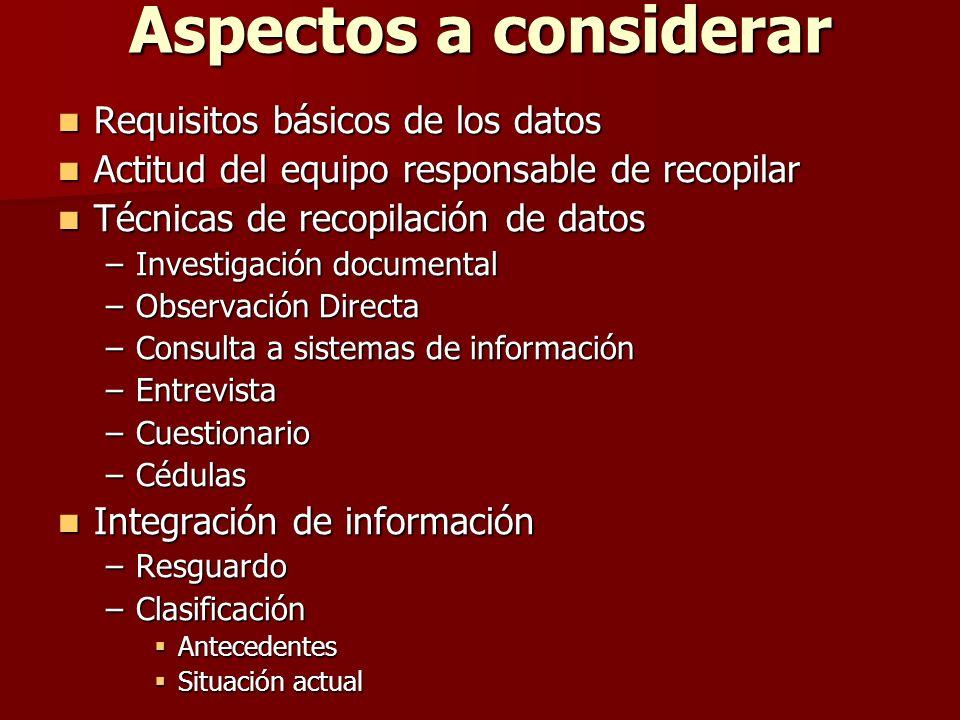 Aspectos a considerar Requisitos básicos de los datos Requisitos básicos de los datos Actitud del equipo responsable de recopilar Actitud del equipo r