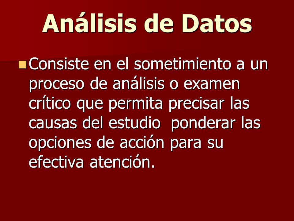 Análisis de Datos Consiste en el sometimiento a un proceso de análisis o examen crítico que permita precisar las causas del estudio ponderar las opcio