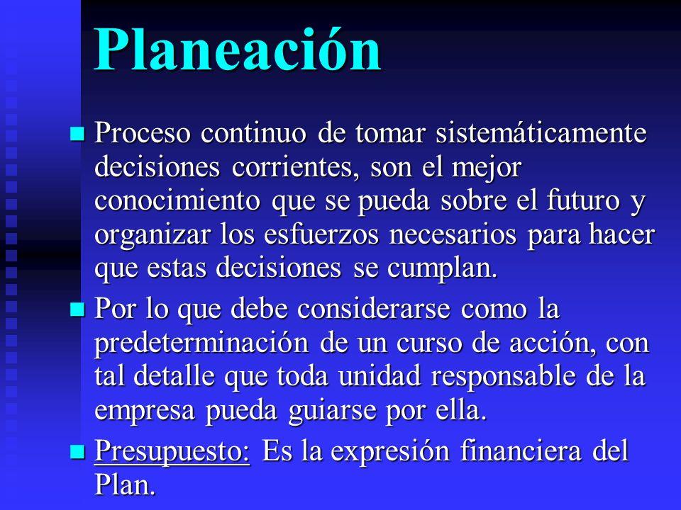 Planeación Proceso continuo de tomar sistemáticamente decisiones corrientes, son el mejor conocimiento que se pueda sobre el futuro y organizar los es
