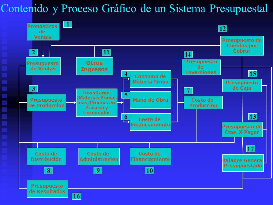 Contenido y Proceso Gráfico de un Sistema Presupuestal Pronósticos de Ventas Presupuesto de Ventas Otros Ingresos Presupuesto de Inversiones Presupues