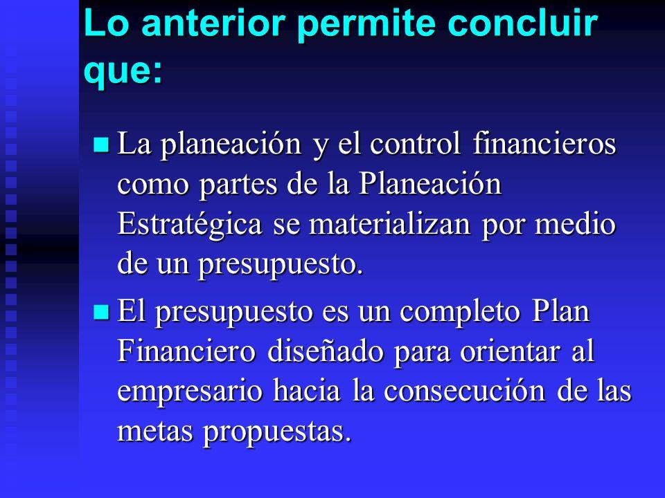 Lo anterior permite concluir que: La planeación y el control financieros como partes de la Planeación Estratégica se materializan por medio de un pres
