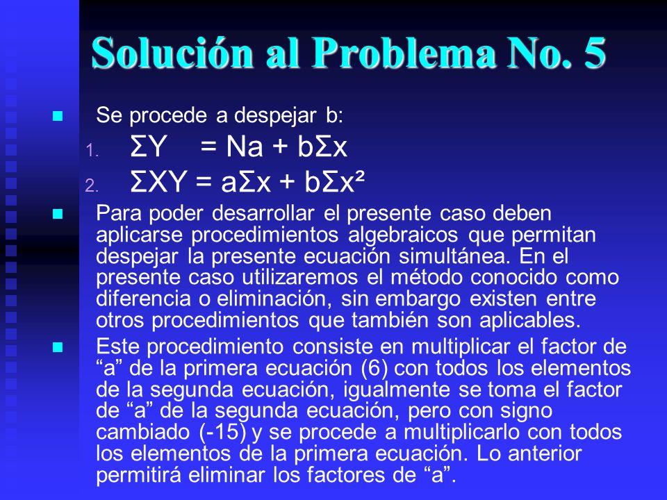 Solución al Problema No. 5 Se procede a despejar b: 1. 1. ΣY = Na + bΣx 2. 2. ΣXY = aΣx + bΣx² Para poder desarrollar el presente caso deben aplicarse