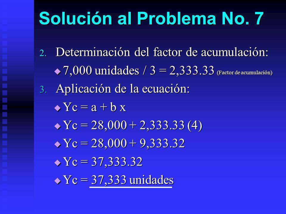 Solución al Problema No. 7 2. Determinación del factor de acumulación: 7,000 unidades / 3 = 2,333.33 (Factor de acumulación) 7,000 unidades / 3 = 2,33