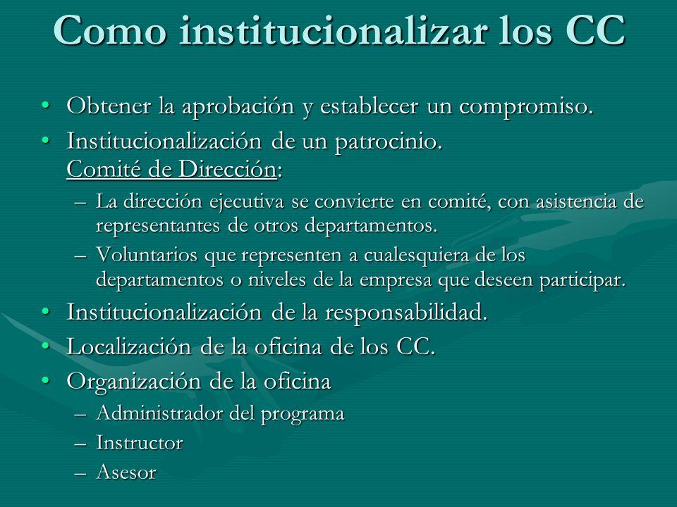 Como institucionalizar los CC Obtener la aprobación y establecer un compromiso.Obtener la aprobación y establecer un compromiso. Institucionalización