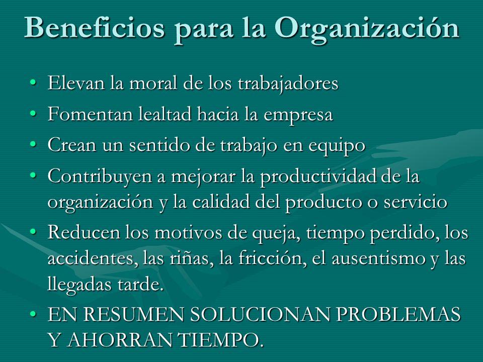 Beneficios para la Organización Elevan la moral de los trabajadoresElevan la moral de los trabajadores Fomentan lealtad hacia la empresaFomentan lealt