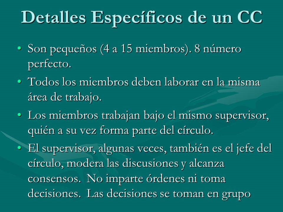 Detalles Específicos de un CC Son pequeños (4 a 15 miembros). 8 número perfecto.Son pequeños (4 a 15 miembros). 8 número perfecto. Todos los miembros