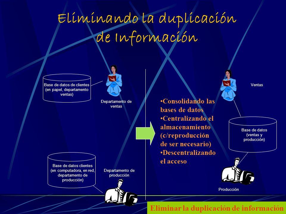 13 Eliminando la duplicación de Información Base de datos de clientes (en papel, departamento ventas) Departamento de ventas Base de datos clientes (en computadora, en red, departamento de producción) Departamento de producción Base de datos (ventas y producción) Ventas Producción Consolidando las bases de datos Centralizando el almacenamiento (c/reproducción de ser necesario) Descentralizando el acceso Eliminar la duplicación de información